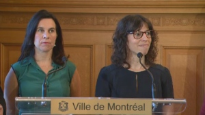 Montreal Mayor Valerie Plante, left, announced Marie Josee Parent, the city's first Native person elected to city council, will join the executive committee to be responsible for the Reconciliation with First Nations porfolio on Mon., Aug. 20, 2018.