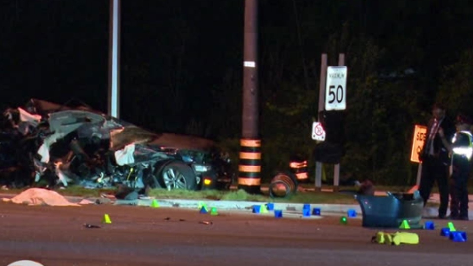Crews respond to a fatal collision on Bayview Avenue near Woodriver Street in Richmond Hill Sunday August 19, 2019.