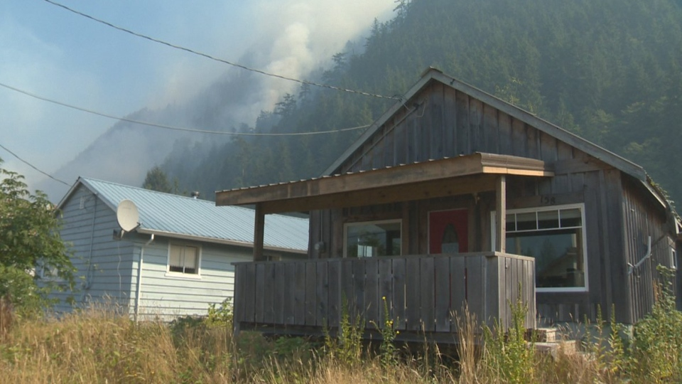 Smoky skies are seen over Zeballos, a small community on Vancouver island. Sat., Aug. 18, 2018. (CTV Vancouver Island)