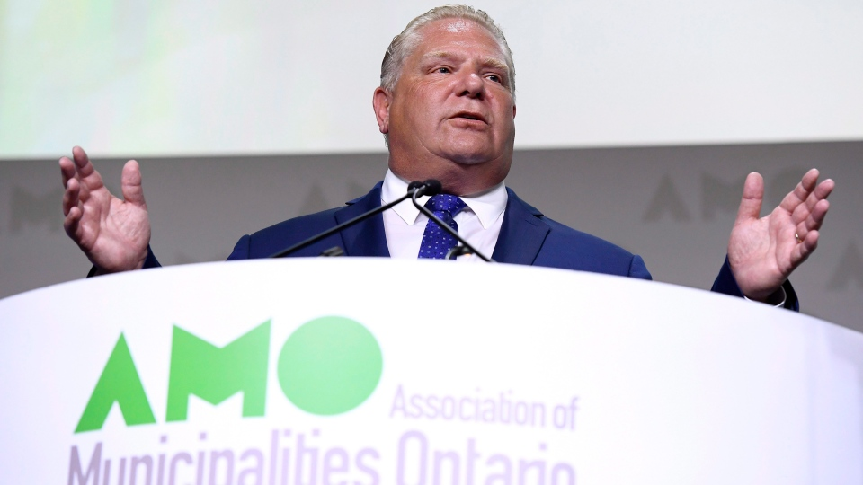 Ontario Premier Doug Ford speaks at the Association of Municipalities of Ontario in Ottawa on Monday, Aug. 20, 2018. (THE CANADIAN PRESS/Justin Tang)