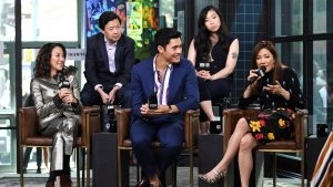 "Actors Michelle Yeoh, from left, Ken Jeong, Henry Golding, Awkwafina and Constance Wu participate in the BUILD Speaker Series to discuss the film ""Crazy Rich Asians"" at AOL Studios on Tuesday, Aug. 14, 2018, in New York. (Photo by Evan Agostini/Invision/AP)"