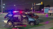 A woman was killed and three teens hospitalized after a crash involving a transport truck in Brampton on August 20, 2018.
