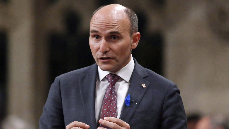 Minister of Families, Children and Social Development Jean-Yves Duclos rises during Question Period in the House of Commons on Parliament Hill on Thursday, May 31, 2018. (THE CANADIAN PRESS/ Patrick Doyle)