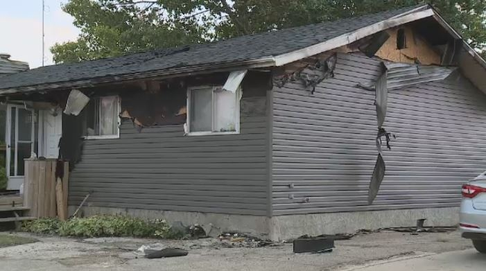 Damage to a home from a fire is shown on Aug. 21, 2018