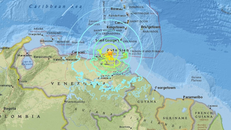 This map shows the location of an earthquake in Venezuela, on Tuesday, Aug. 21, 2018. (USGS)
