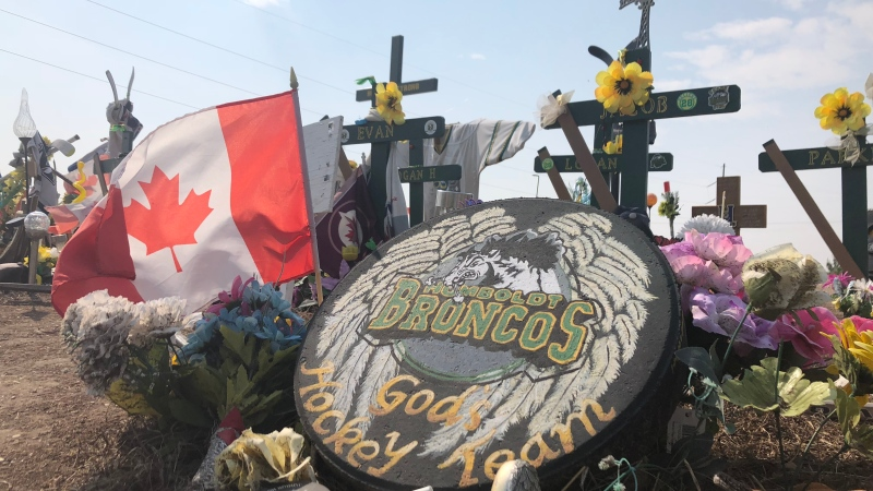The memorial at the site of the Humboldt Broncos bus crash is shown on Aug. 21, 2018 (Angelina Irinici / CTV Saskatoon)