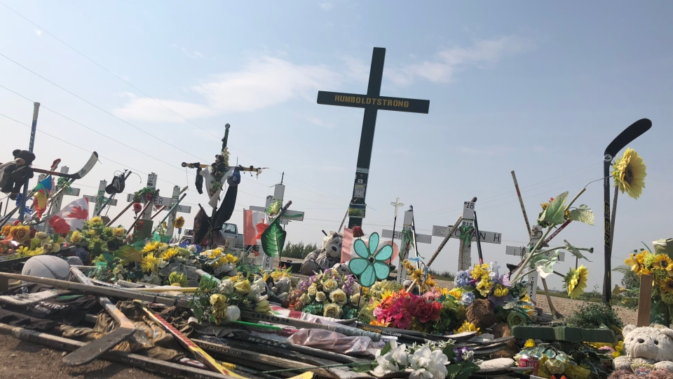 The memorial at the site of the Humboldt Broncos bus crash is shown on Aug. 21, 2018 (Angelina Irinici / CTV Saskatoon)