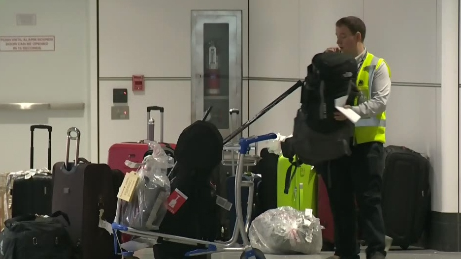 Kyle Rougeau has filed a complaint against Air Canada after he says his luggage went missing and later turned up in a heap of unattended bags.