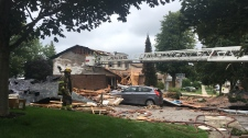 Aftermath of a house explosion in Kitchener