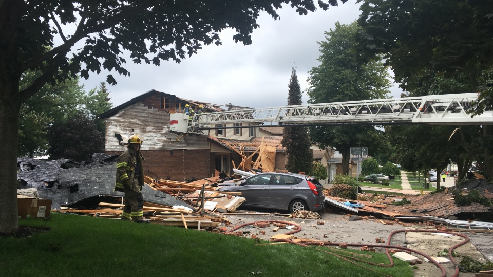 The aftermath of a house explosion on Sprucedale Crescent in Kitchener.