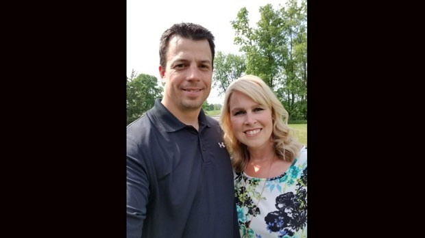 OPP Sgt. Sylvain Joseph Francois Routhier is seen pictured with his wife Sarah Routhier in this photo provided by family.