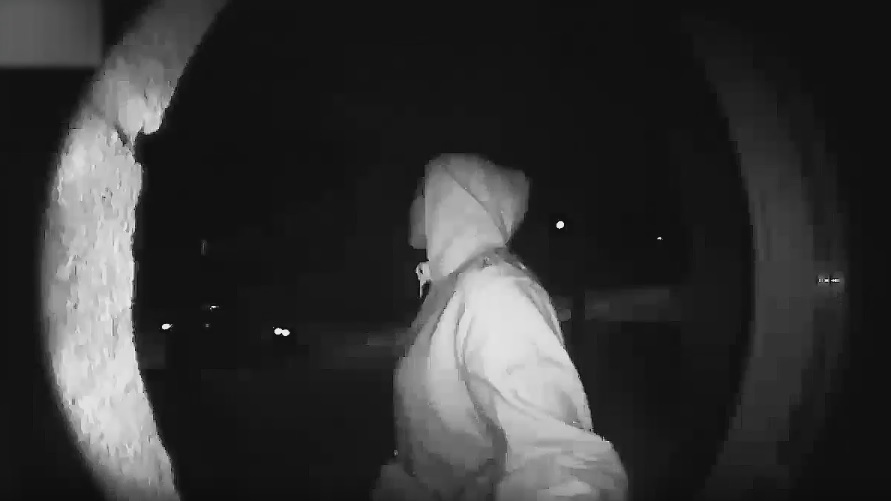 A female abduction victim is seen in a surveillance camera image. (YRP)