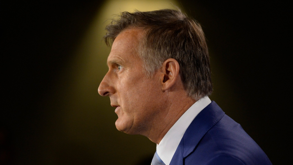 Maxime Bernier announces he will leave the Conservative party during a news conference in Ottawa, Thursday August 23, 2018. (THE CANADIAN PRESS/Adrian Wyld)