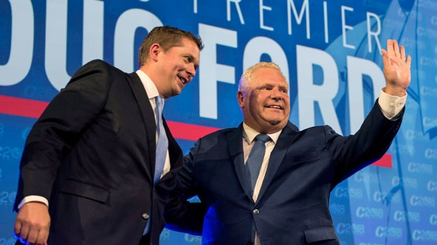 Ontario Premier Doug Ford, right, and Conservative leader Andrew Scheer acknowledge the crowd while on stage at the Conservative national convention in Halifax on Thursday, August 23, 2018. THE CANADIAN PRESS/Darren Calabrese