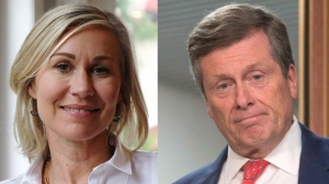 Jennifer Keesmaat and John Tory are seen in this composite image. (The Canadian Press)