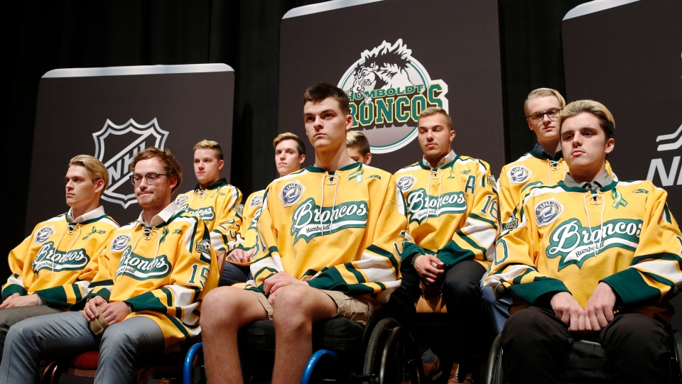 In this June 19, 2018, file photo, members of the Humboldt Broncos hockey team attend a news conference in Las Vegas. (AP Photo/John Locher, File)