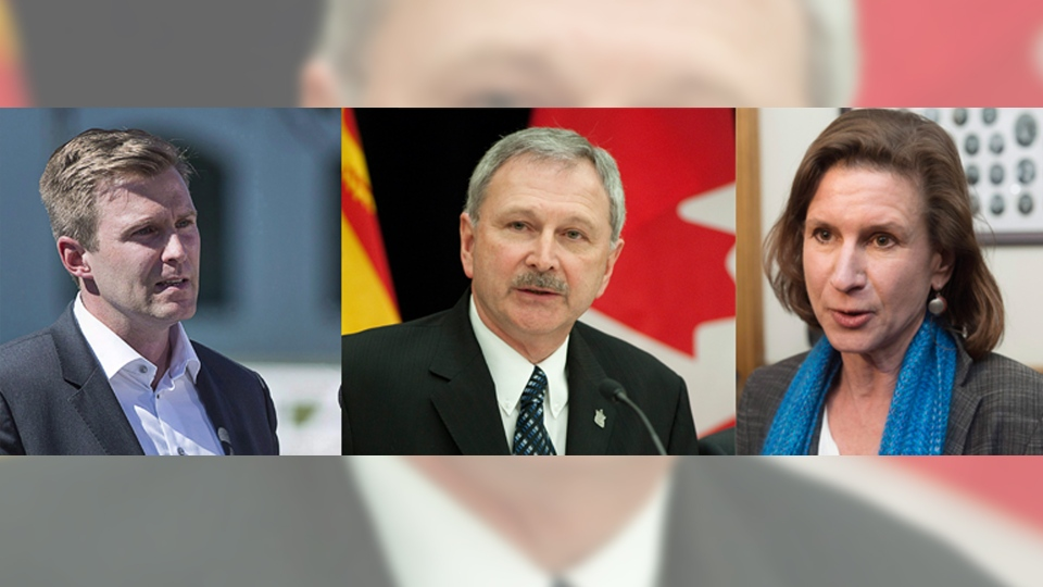 Liberal Leader Brian Gallant, Progressive Conservative Leader Blaine Higgs, and the New Democrat's Jennifer McKenzie are shown in this composite photo. (The Canadian Press)