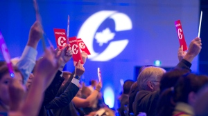 Delegates vote on party constitution items at the Conservative Party of Canada national policy convention in Halifax on Friday, Aug. 24, 2018. THE CANADIAN PRESS/Andrew Vaughan
