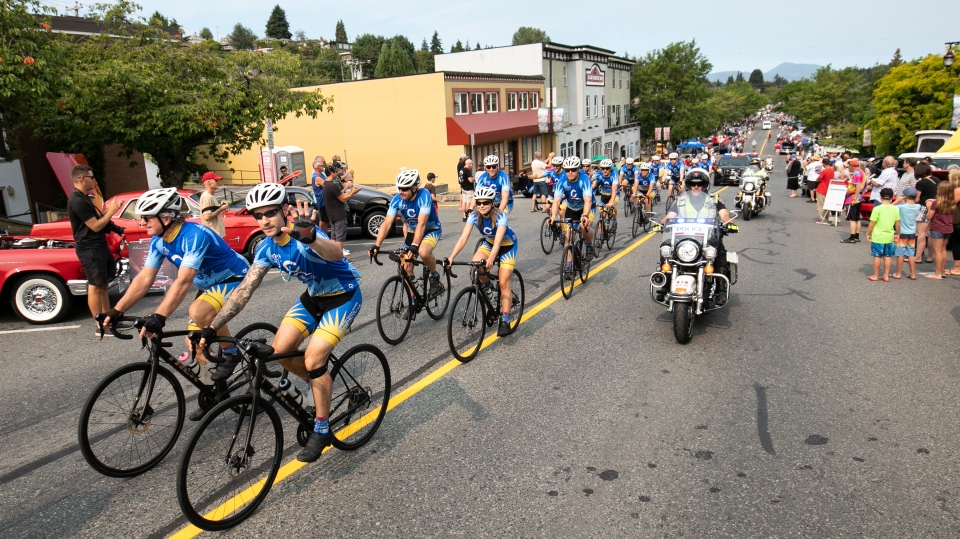 Rob House, front left, is a retired school principal taking part in this year's Cops for Cancer Tour de Rock ride. (Arnold Lim/Black Press)