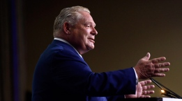 Ontario Premier Doug Ford speaks at the Association of Municipalities of Ontario in Ottawa on Monday, Aug. 20, 2018. THE CANADIAN PRESS/Justin Tang