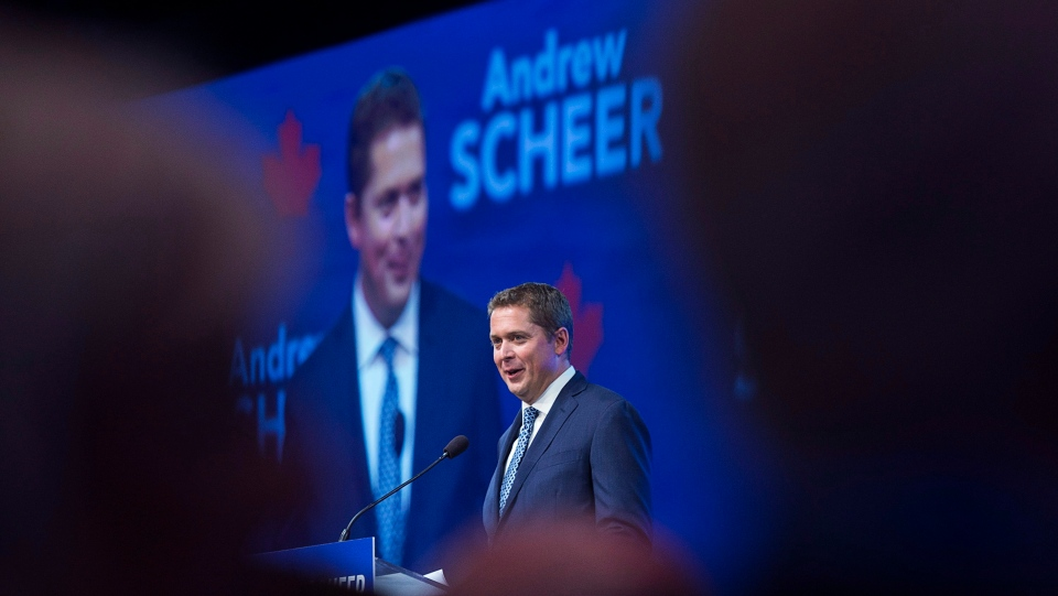 Conservative Party of Canada Leader Andrew Scheer addresses the crowd at the party's national policy convention in Halifax on Friday, Aug. 24, 2018. THE CANADIAN PRESS/Andrew Vaughan