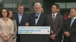 Premier Philippe Couillard appeared at a campaign stop on Sat., Aug 25, 2018, with Gertrude Bourdon, far left, who would replace Gaetan Barrette as health minister should the Liberals win another mandate.