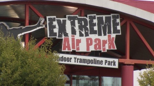 A sign for Extreme Air Park in Richmond, B.C. is seen Saturday, Aug. 25, 2018.