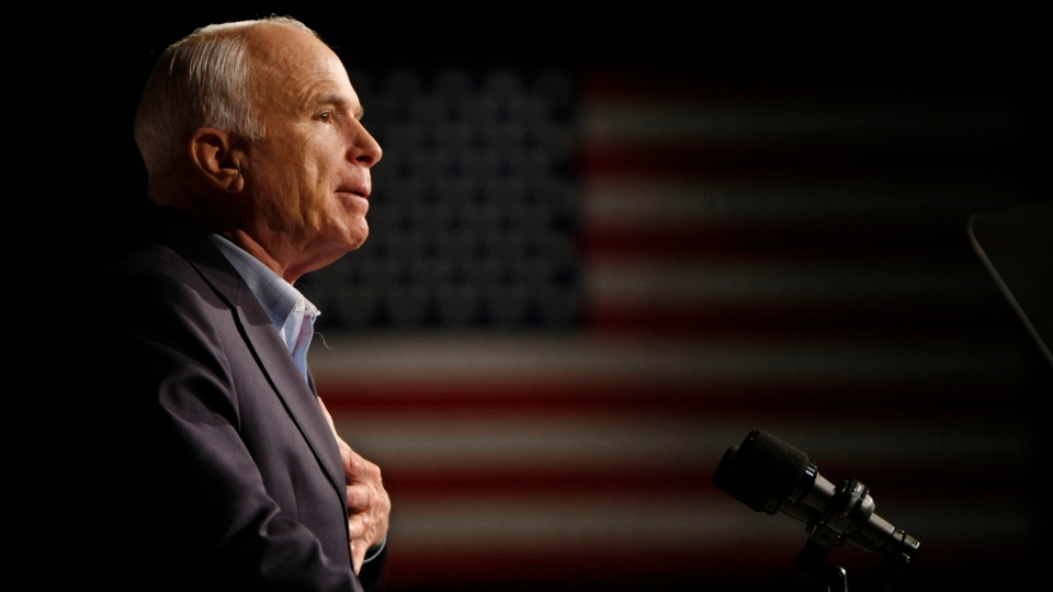 In this Oct. 11, 2008, file photo, Republican presidential candidate Sen. John McCain, R-Ariz., speaks at a rally in Davenport, Iowa. (AP Photo / Gerald Herbert, File)