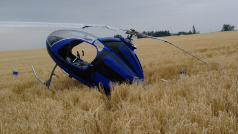 The pilot of this homemade helicopter walked away nearly unscathed after crashing it in a farmer's field in Strathcona County on Saturday, August 25, 2018.