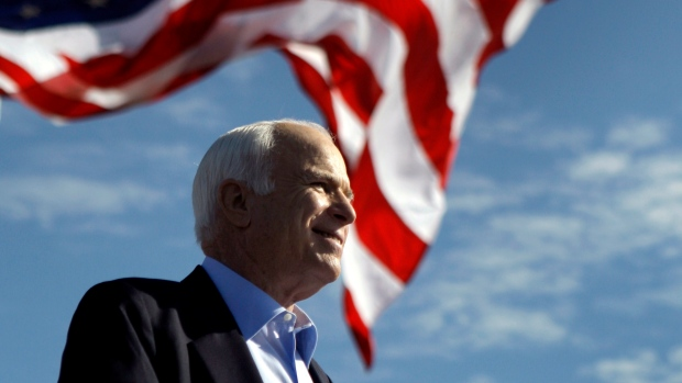 In this Nov. 3, 2008, file photo, Republican presidential candidate Sen. John McCain, R-Ariz., speaks at a rally in Tampa, Fla. (AP / Carolyn Kaster, File)