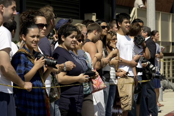 People wait outside UCLA Medical Center where entertainer Michael Jackson was taken in Los Angeles, Thursday, June 25, 2009. (AP / Reed Saxon)