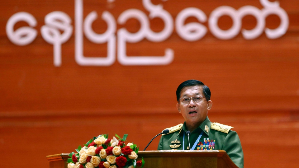 Myanmar's Army Commander Senior Gen. Min Aung Hlaing speaks during the opening ceremony of the third session of the 21st Century Panglong Conference at the Myanmar International Convention Centre in Naypyitaw, Myanmar, Wednesday, July 11, 2018. (AP Photo/Aung Shine Oo)