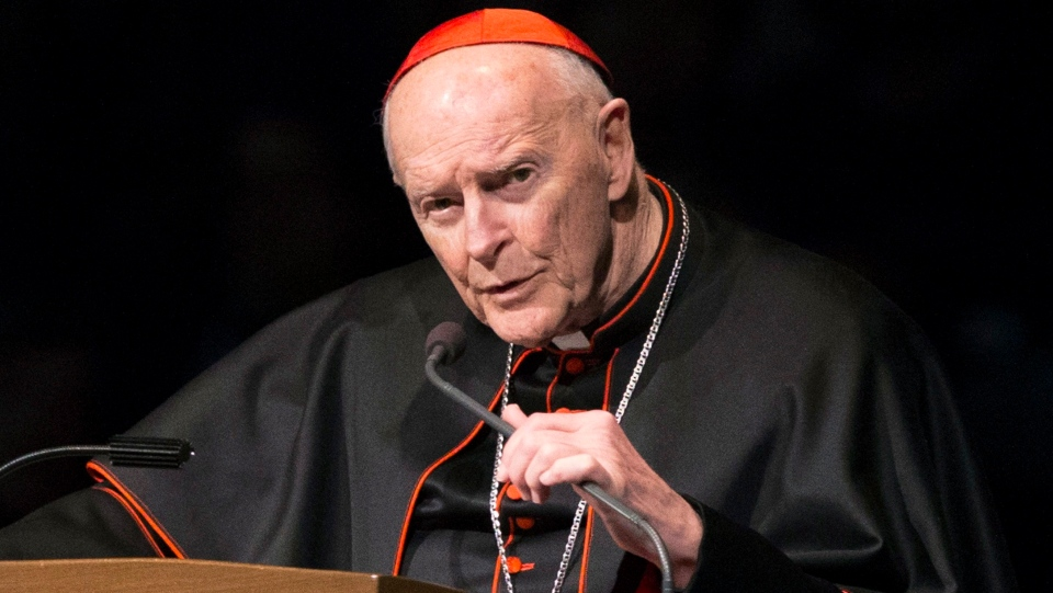 In this March 4, 2015, file photo, Cardinal Theodore McCarrick speaks during a memorial service in South Bend, Ind. (Robert Franklin/South Bend Tribune via AP, Pool)