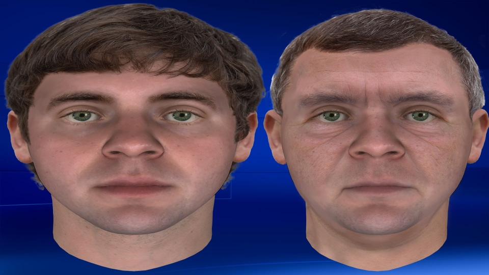 Composite sketches of Thera Dieleman murder suspect gathered from DNA. On the left is a sketch of what he looked like in 1988 at the time of the murder and on the right, what he would look like in 2018. (Supplied)