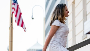 Canadian Foreign Affairs Minister Chrystia Freeland arrives at the Office Of The United States Trade Representative, Tuesday, Aug. 28, 2018, in Washington.  (AP / Andrew Harnik)