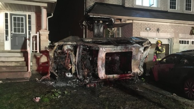 Three people were hospitalized after a vehicle crashed into a home in Brampton. (Peel Paramedics/ Twitter)