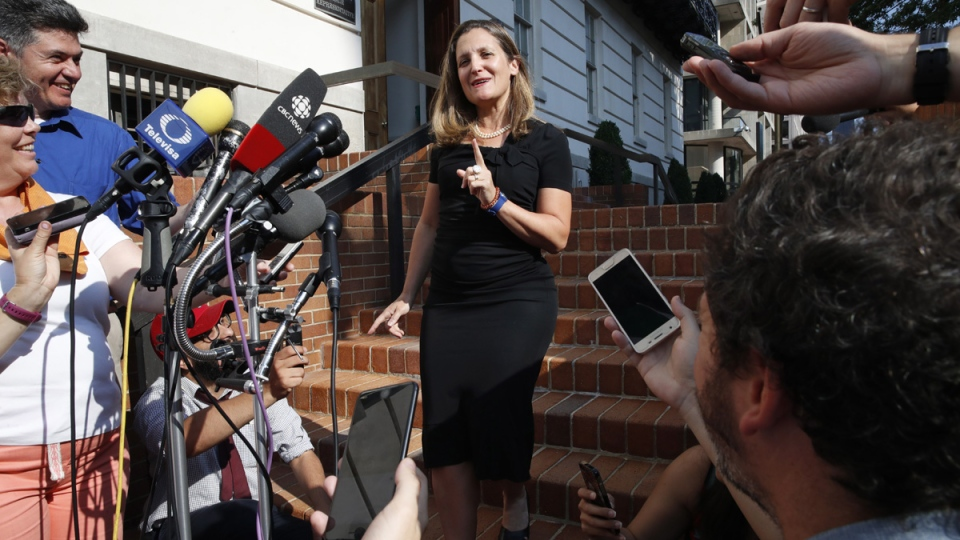 Foreign Affairs Minister Chrystia Freeland outside the Office of the United States Trade Representative in Washington, on Aug. 29, 2018. (Jacquelyn Martin / AP)
