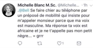 Michelle Blanc confirmed she wrote this deleted tweet.