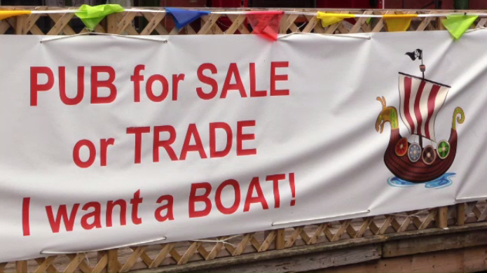 Pub for sail? The sign outside Ye Olde Town Pub and Restaurant speaks to owner Kevin Emery's ambitions.