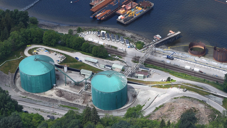 An aerial view of Kinder Morgan's Trans Mountainmarine terminal, in Burnaby, B.C., is shown on Tuesday, May 29, 2018. THE CANADIAN PRESS Jonathan Hayward