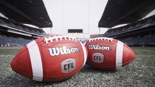 CFL balls are photographed at the Winnipeg Blue Bombers stadium in Winnipeg Thursday, May 24, 2018. (John Woods / THE CANADIAN PRESS)