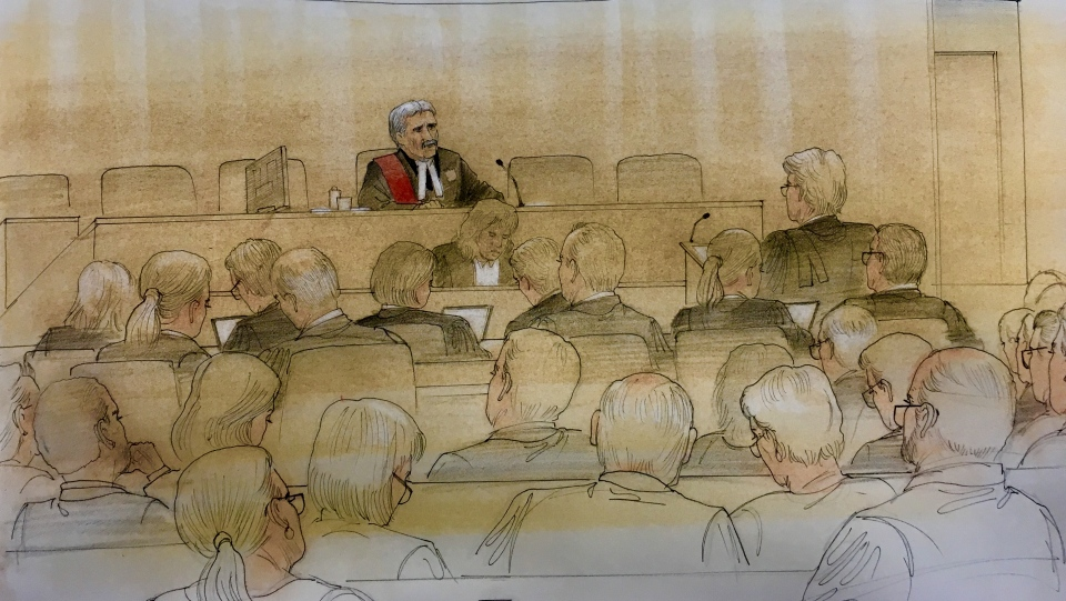 The Ontario government and the City of Toronto face off in court for the first time on August 31, 2018. (Sketch by John Mantha)