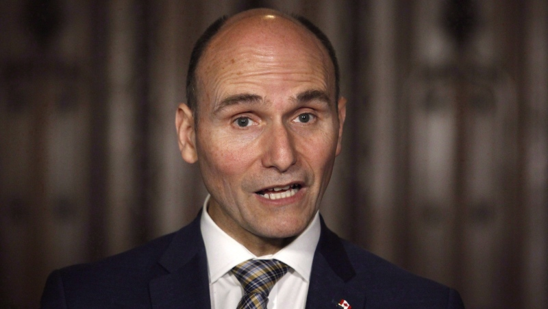 Social Development Minister Jean-Yves Duclos speaks at a press conference on Parliament Hill in Ottawa on May 25, 2018. (THE CANADIAN PRESS/Patrick Doyle)