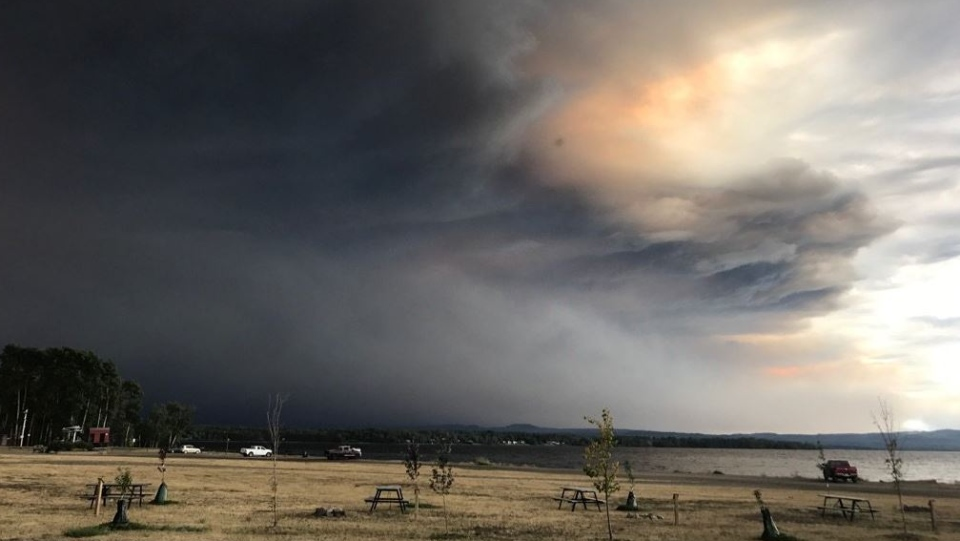 Smoky skies are seen over Fort St. John on Aug. 16, 2018. (BC Wildfire Service)