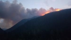 Photos posted online by the BC Wildfire Service show the 2018 wildfire season from the front lines.  <br>The B.C. government says although wildfires have broken last year's record for the area of land burned, the human impacts have been much lower. <br><br>A photo posted to Twitter by the BC Wildfire Service shows flames and smoke north of Blue River on Aug. 20, 2018.