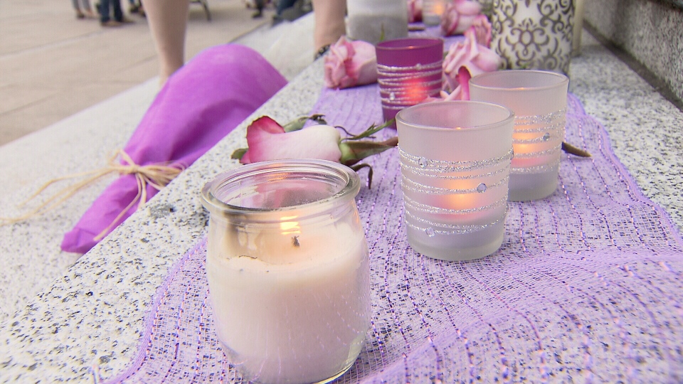 Residents who have lost loved-ones to the opioid crisis gathered a the Vancouver Art Gallery Friday night for a vigil to mark International Overdoes Awareness Day. (CTV)