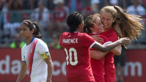 Canada's Jordyn Huitema (right) celebrates with Ashley Lawrence (10) and Jessie Fleming after scoring her second goal and her country's sixth as Costa Rica's Shirley Cruz walks by during second half International women's soccer action in Toronto on June 11, 2017. THE CANADIAN PRESS/Chris Young