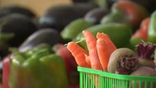 Produce on display at Cambridge Farmers' Market