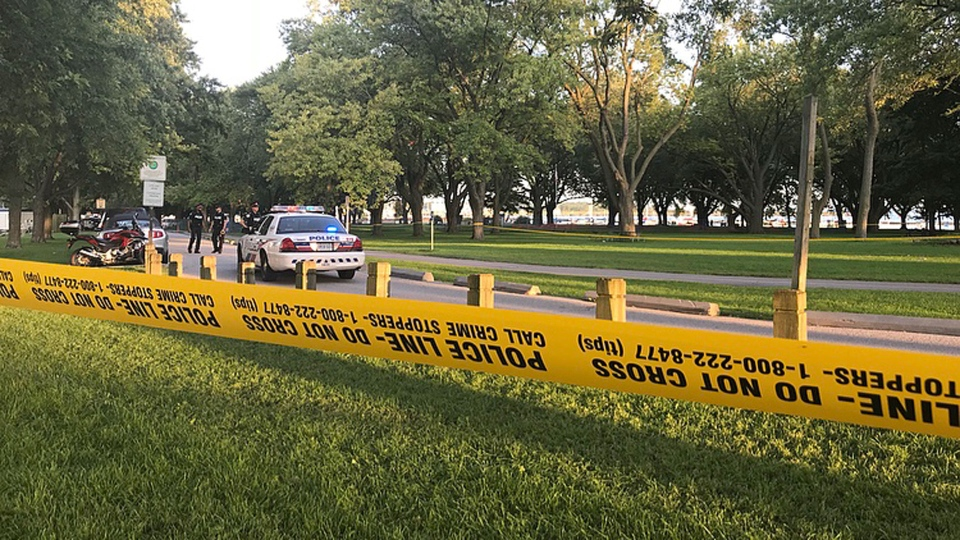Police respond to a shooting at Coronation Park near Lake Shore and Fort York boulevards Sunday September 02, 2018. (Cristina Tenaglia /CP24)