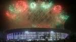 Fireworks explode over the Gelora Bung Karno Stadium during the closing ceremony for the 18th Asian Games at in Jakarta, Indonesia, Sunday, Sept. 2, 2018. AP Photo/Tatan Syuflana)
